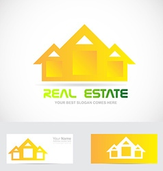 Real estate yellow house logo vector