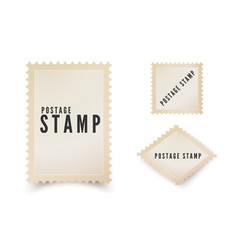 Retro postal stamp template with shadow vintage vector