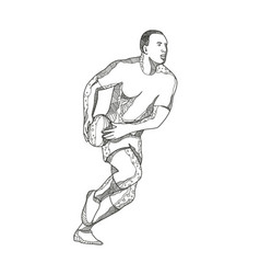rugby player passing ball doodle art vector image