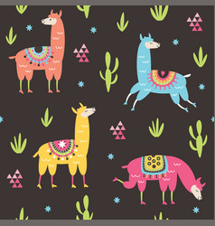 Seamless pattern with cute llama vector