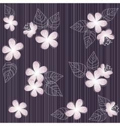 Seamless violet flower pattern background vector image