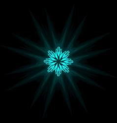 Self-illuminated cyan snowflake isolated on black vector image
