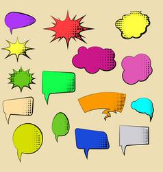 set cartoon comic speech bubbles clouds vector image