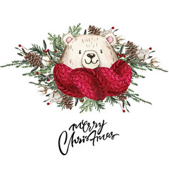 Set of christmas woodland cute forest cartoon bear vector