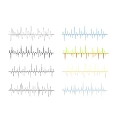 Set of different analog and digital signal waves vector