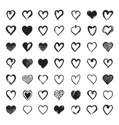 set of hand drawn hearts design elements for vector image