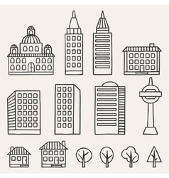 Set of hand drawn houses for town vector