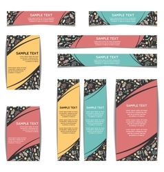 Set of web banners with floral pattern vector image