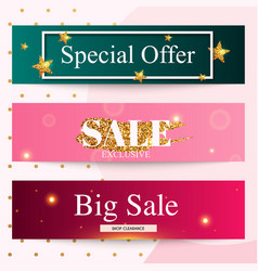set sale banners design discounts and special vector image