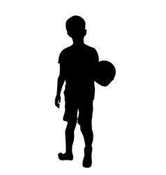 silhouette boy with ball vector image
