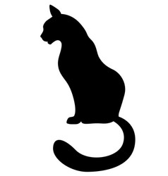 silhouette of a black cat sitting vector image