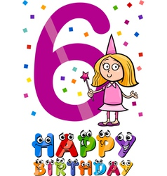Sixth birthday cartoon design vector