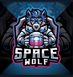 space wolf esport mascot logo design vector image