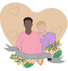Support for lgbt couples gay couple in heart vector