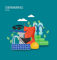 Swimming pool flat style design vector