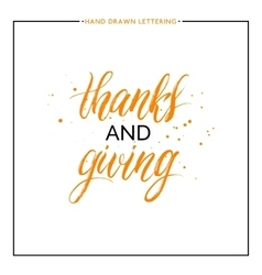 Thanks and giving lettering with black splashes vector image