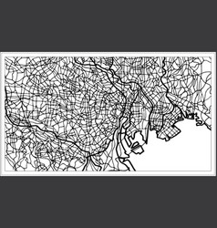 Tokyo japan city map in black and white color vector