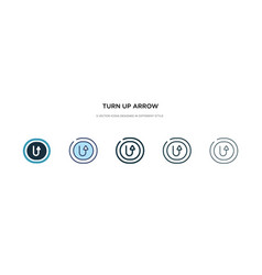 Turn up arrow icon in different style two vector