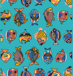 Underwater life seamless pattern with fishes vector