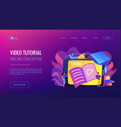 video tutorial concept landing page vector image