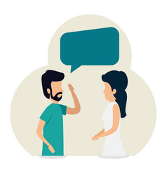 woman and man teamwork and chat bubble vector image