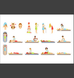 women receiving skin and body treatment in spa vector image