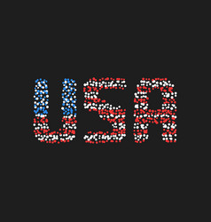 abstract usa text from colored dots vector image