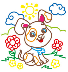 coloring book of cute doggy vector image vector image