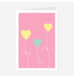 Heart flowers dash line Love greeting card Flat vector image