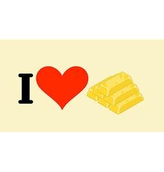 I love gold Heart and bullion Logo for gold rush vector image vector image