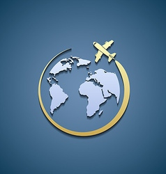 Icon plane and Earth vector image