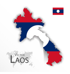 laos map and flag vector image