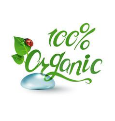 100 organic green vector image