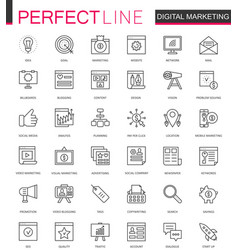 digital marketing thin line web icons set online vector image