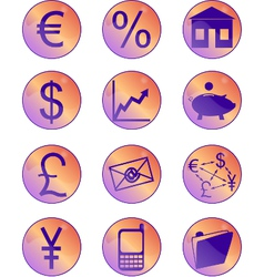 Financial icons round vector
