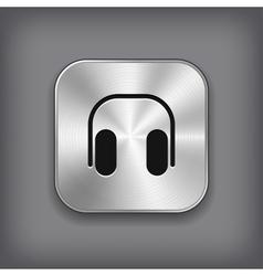 Headphones icon - metal app button vector image