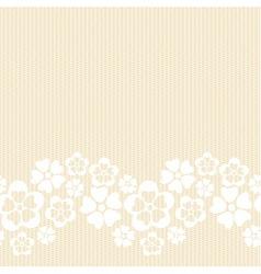 Horizontal white lacy flower border vector image vector image
