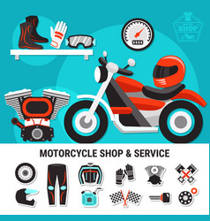 motorcycle shop and service vector image vector image