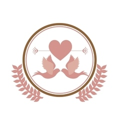 pink circular border with olive branch and pigeons vector image