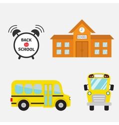 Back to school Yellow bus set Transportation Alarm vector image