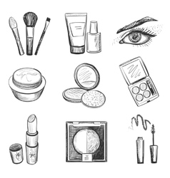 Hand drawn makeup icons vector image vector image