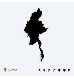 High detailed map of Burma with navigation pins vector image