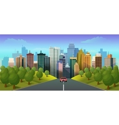Road through the countryside into the city vector image vector image