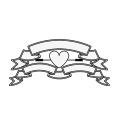 silhouette with set labels and heart vector image vector image