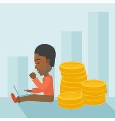 Successful black businessman sitting with a pile vector