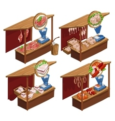 Four kiosk selling meat products vector image vector image