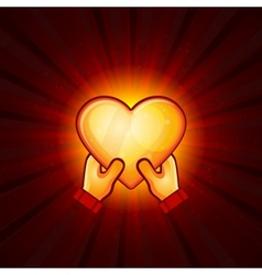 Gold Heart And Hands On Red Background vector image vector image