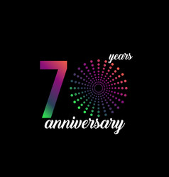 70 year anniversary firework template design vector