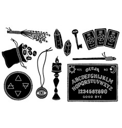 A set magical and mystical items for fortune vector