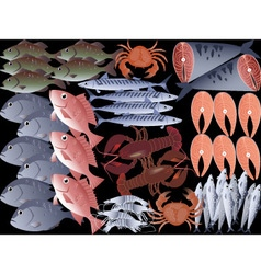 Assorted seafood vector